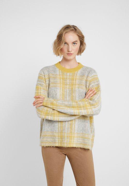 trwałe modelowanie BOSS IDDINIALLA - Sweter - grey/yellow Odzież Damska YAMR-JA3