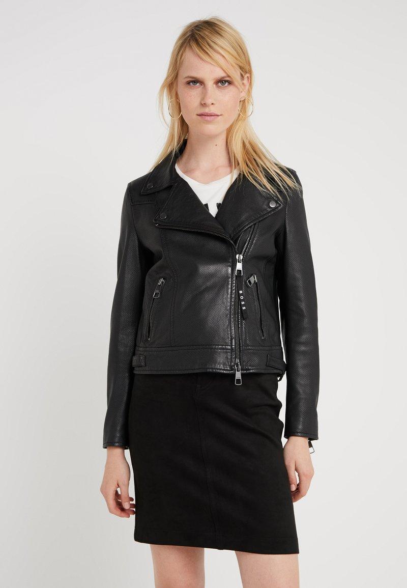 BOSS - JAMORE - Leather jacket - black