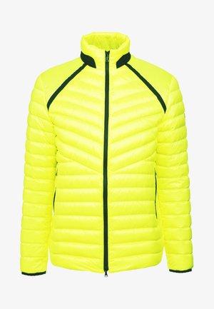 LIMAN - Bunda zprachového peří - neon yellow
