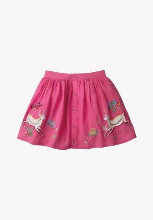 MIT APPLIKATIONEN UND GEKNÖPFTER VORDERSEITE - A-line skirt - ruby pink