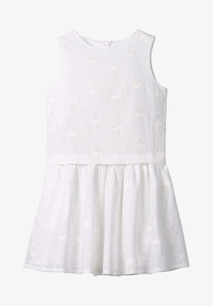 MIT ERDBEER LOCHSTICKEREI - Day dress - white