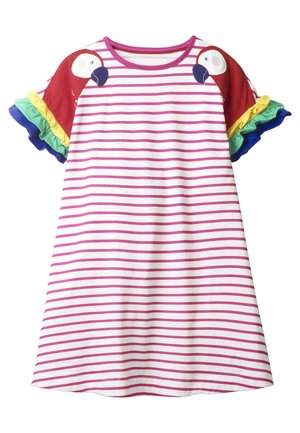 MIT FLATTERÄRMELN - Jersey dress - helles pink/weiß, papageien