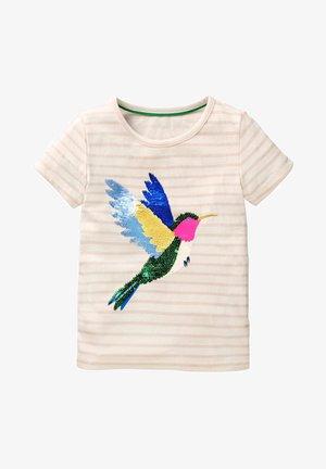 MIT FARBWECHSELNDEN PAILLETTEN - Print T-shirt - white/dolphin pink