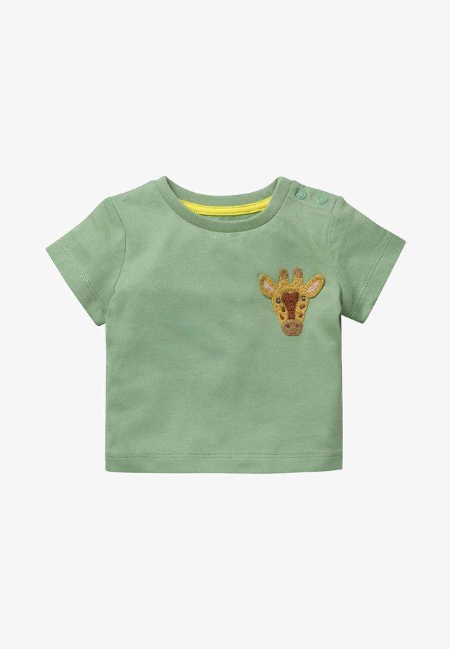 MIT GEHÄKELTEM TIERMOTIV - Print T-shirt - frog green