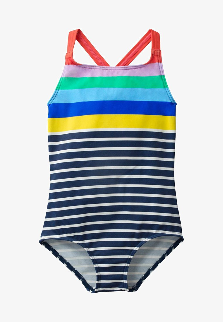 Boden - MIT ÜBERKREUZTEN TRÄGERN - Swimsuit - natural white/navy