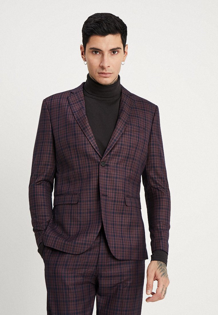 boohoo MAN - CHECKED SKINNY FIT SUIT JACKET - Giacca elegante - plum