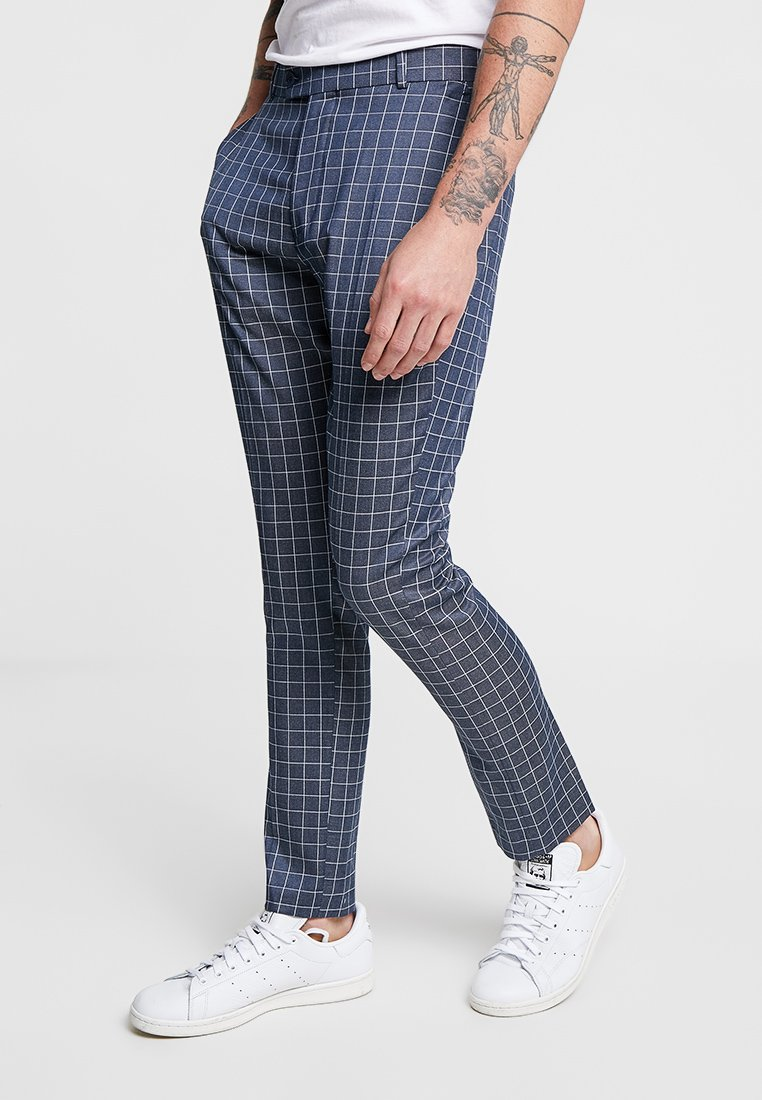boohoo MAN - SMALL WINDOWPANE CHECK SUIT TROUSERS - Suit trousers - charcoal