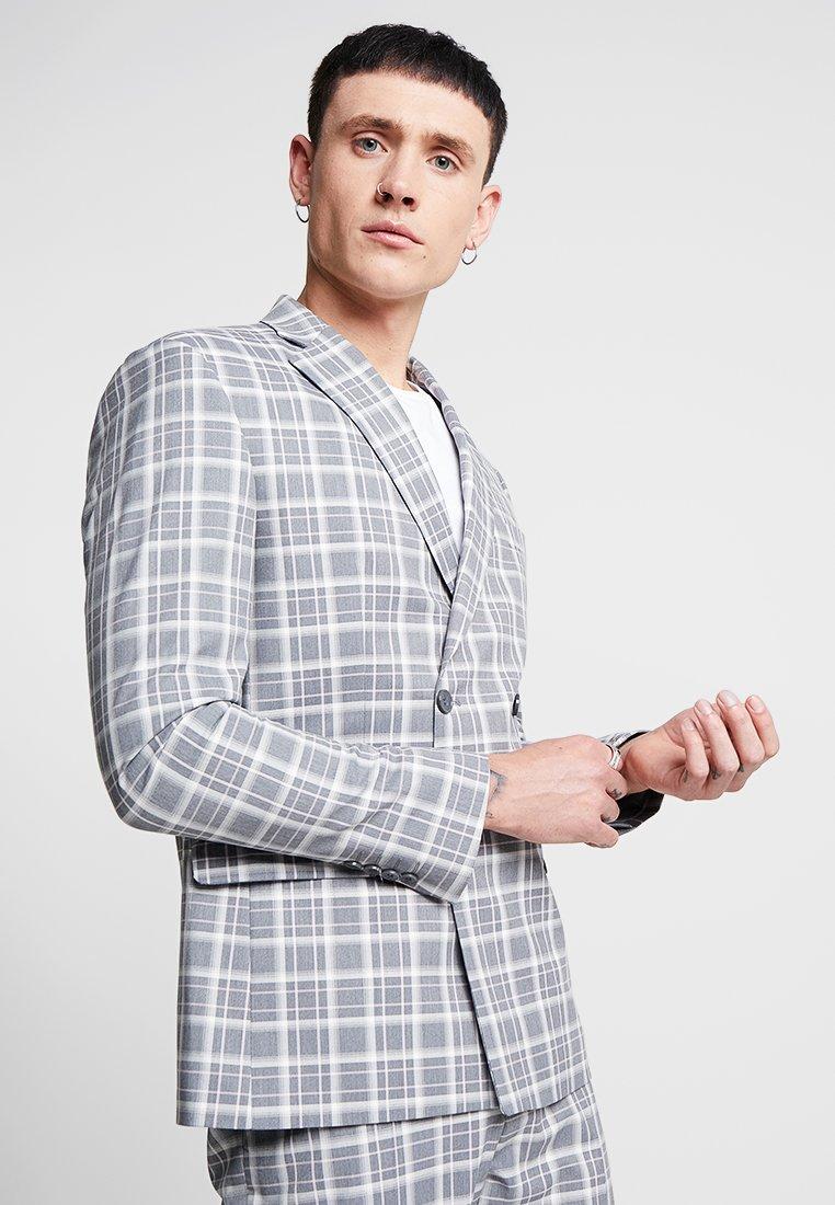 boohoo MAN - ICE CREAM CHECK DOUBLE BREASTED JACKET - Suit jacket - grey