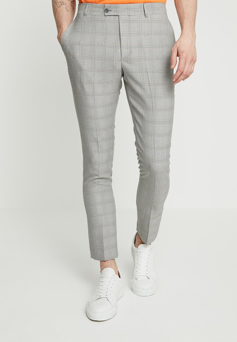 boohoo MAN - VINTAGE CHECK SMART TROUSER - Anzughose - grey
