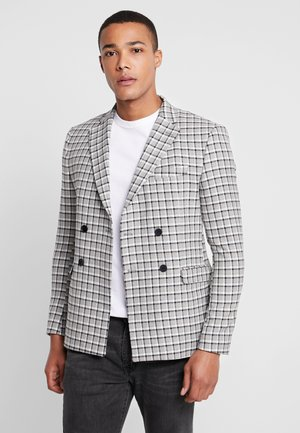 CHECK DOUBLE BREASTED SUIT JACKET - Sako - grey