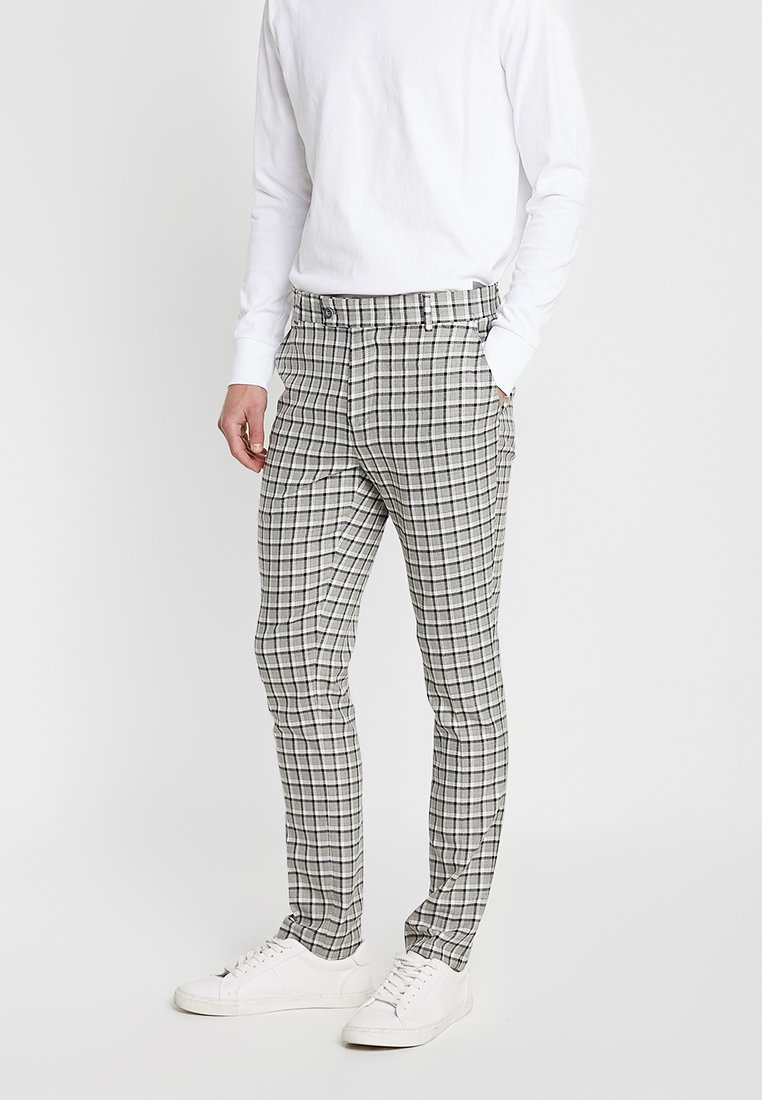 boohoo MAN - CHECK SLIM FIT SUIT - Dressbukse - grey