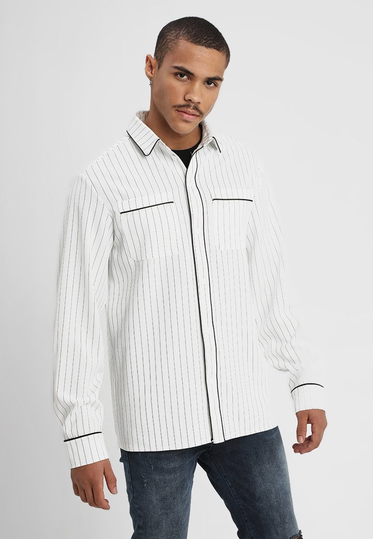 boohoo MAN - LONG SLEEVE STRIPE WITH PIPING - Camicia - white