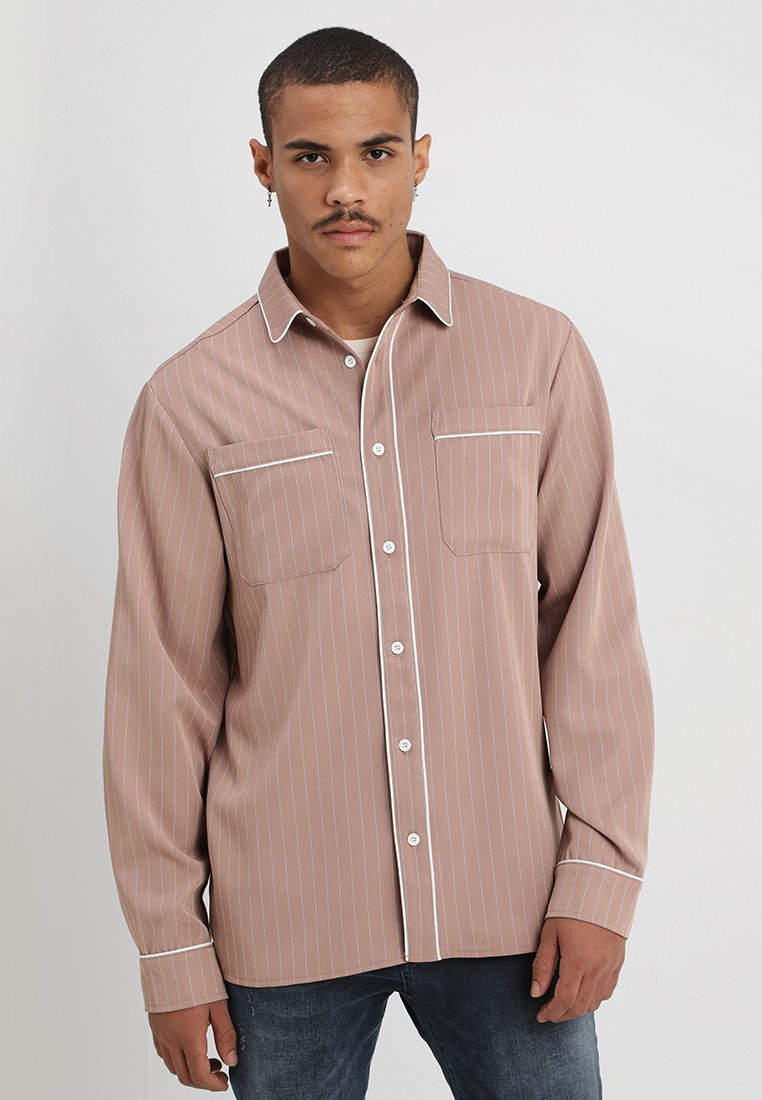 boohoo MAN - LONG SLEEVE STRIPE WITH PIPING - Shirt - pink