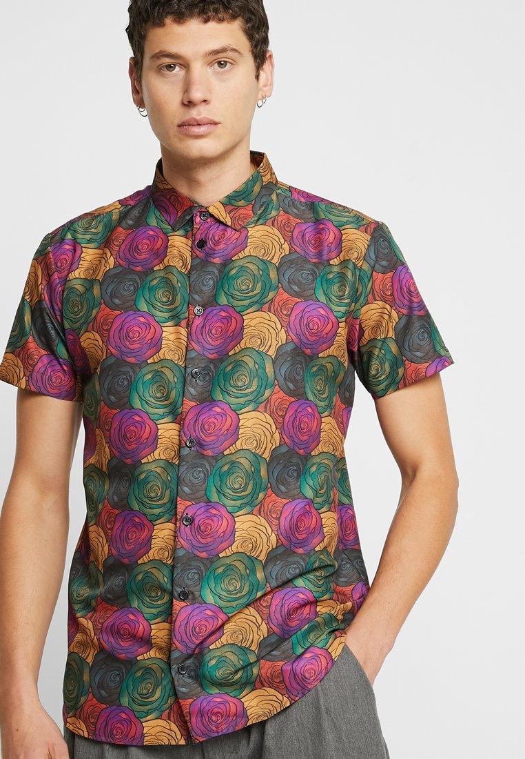 boohoo MAN - DARK ROSE PRINT SHORT SLEEVE SHIRT - Shirt - multi-coloured