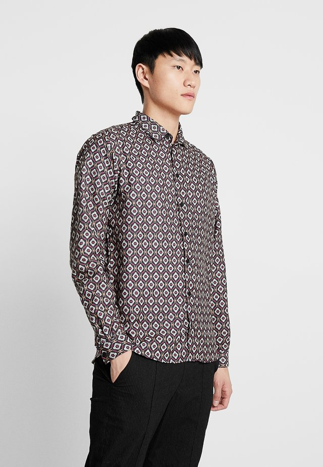 LONG SLEEVE TILE PRINT - Hemd - burgundy