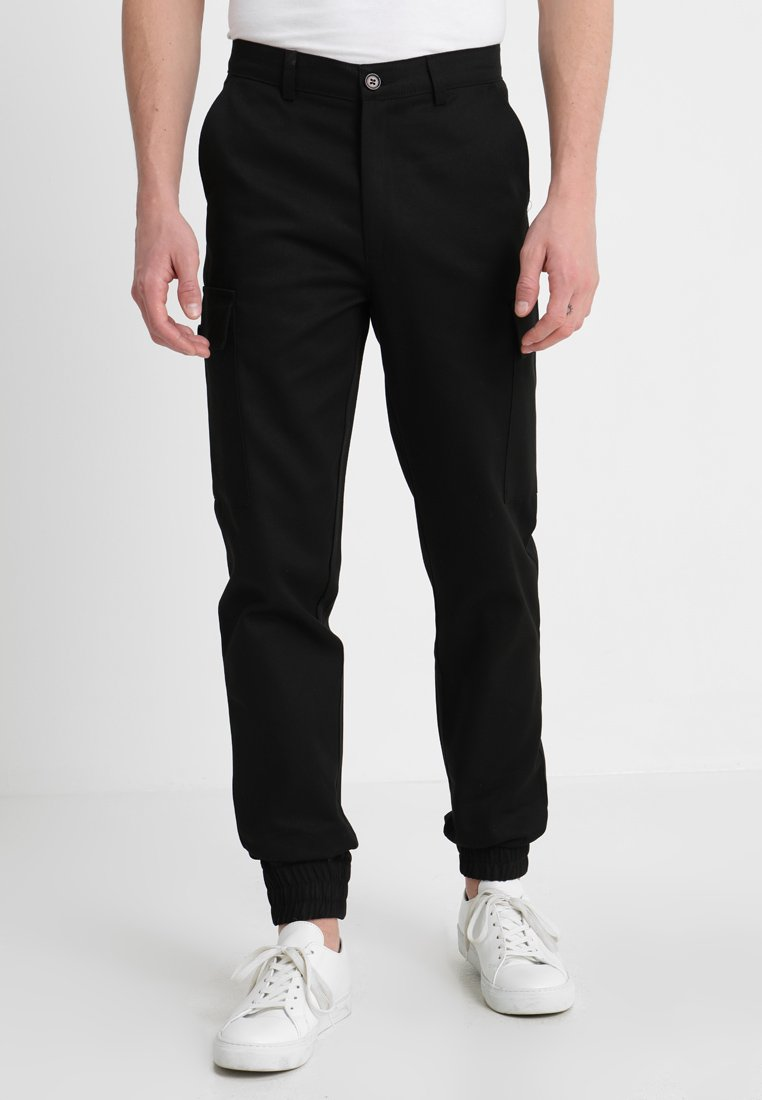 boohoo MAN - TROUSERS WITH ANKLE CUFFS - Pantaloni cargo - black