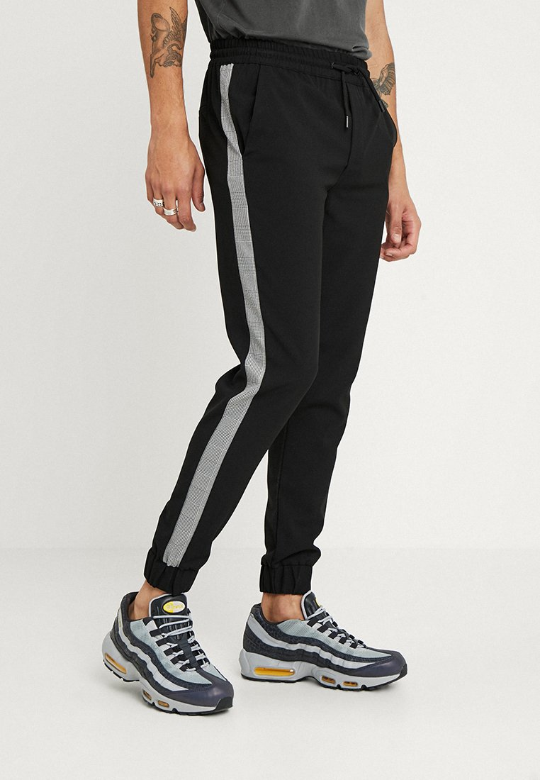 boohoo MAN - CROPPED SIDE PANEL CREPE - Tracksuit bottoms - black