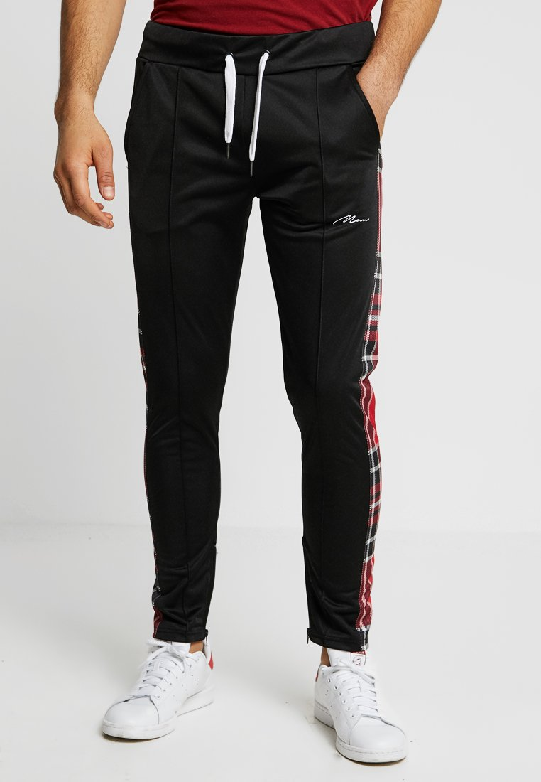 boohoo MAN - TRICOT MAN JOGGERS WITH CHECK SIDE PANELS - Tracksuit bottoms - black