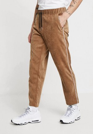 JOGGER STYLE TROUSER WITH SIDE PIPING - Kangashousut - tan
