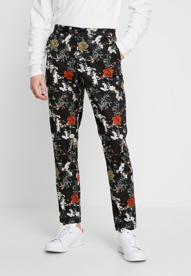 FLORAL PRINT TAPERED - Chino - black