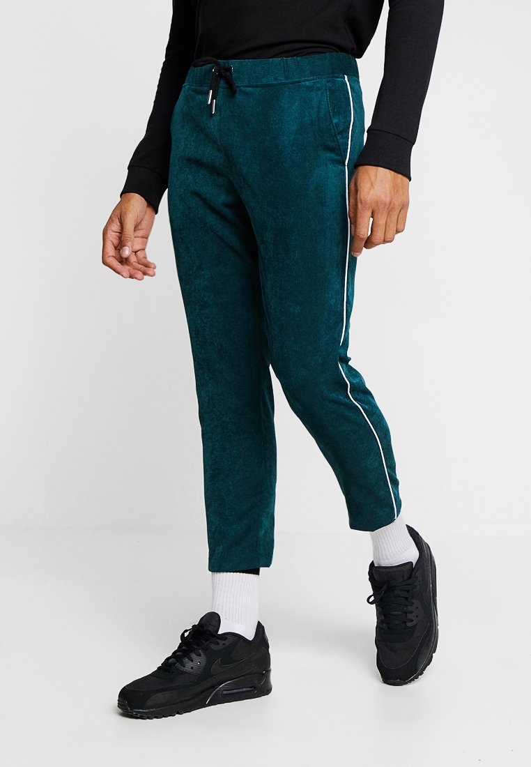 boohoo MAN - TROUSER WITH SIDE PIPING - Tracksuit bottoms - green