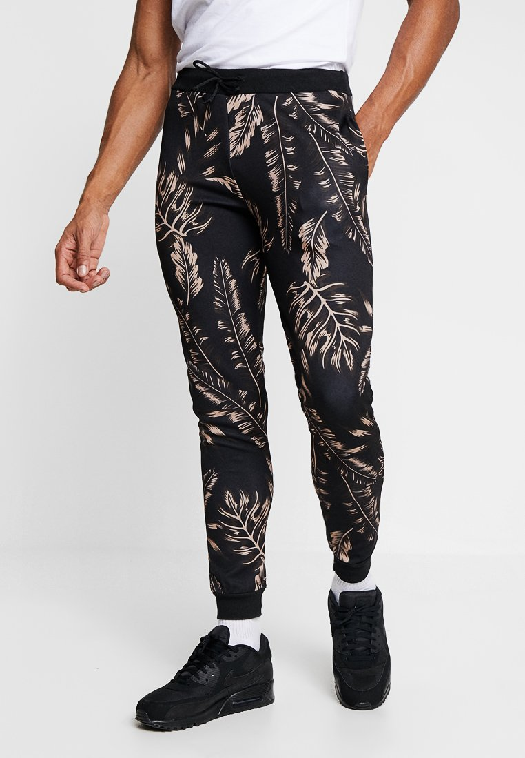 boohoo MAN - PALM JOGGERS - Trainingsbroek - black