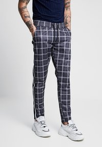 boohoo MAN - CHECK IN TRICOT WITH SIDE TAPING - Kalhoty - grey - 0