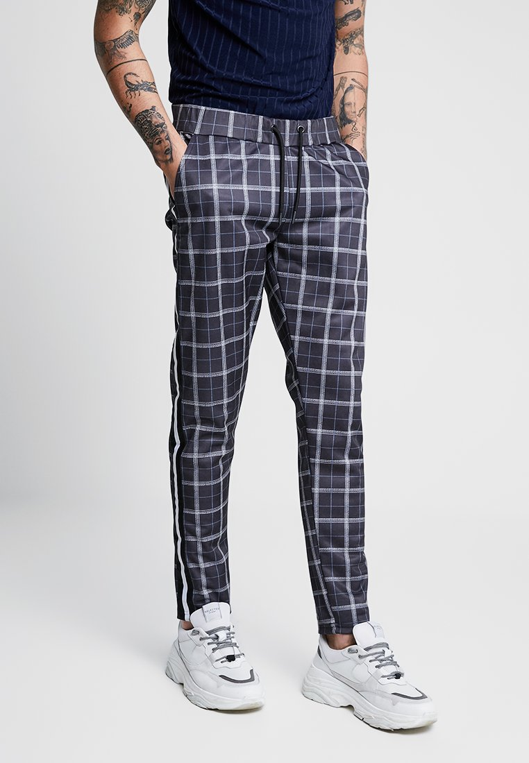 boohoo MAN - CHECK IN TRICOT WITH SIDE TAPING - Stoffhose - grey