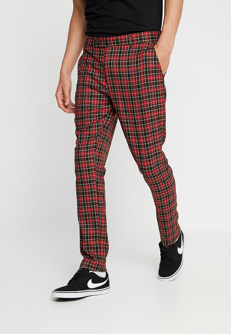 boohoo MAN - TARTAN CROPPED TROUSER WITH TURN UP - Stoffhose - red