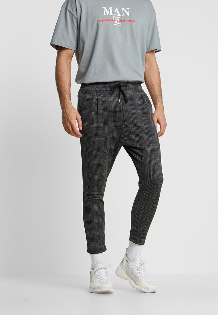 boohoo MAN - PRINCE OF WALES CHECK FORMAL JOGGERS - Stoffhose - grey