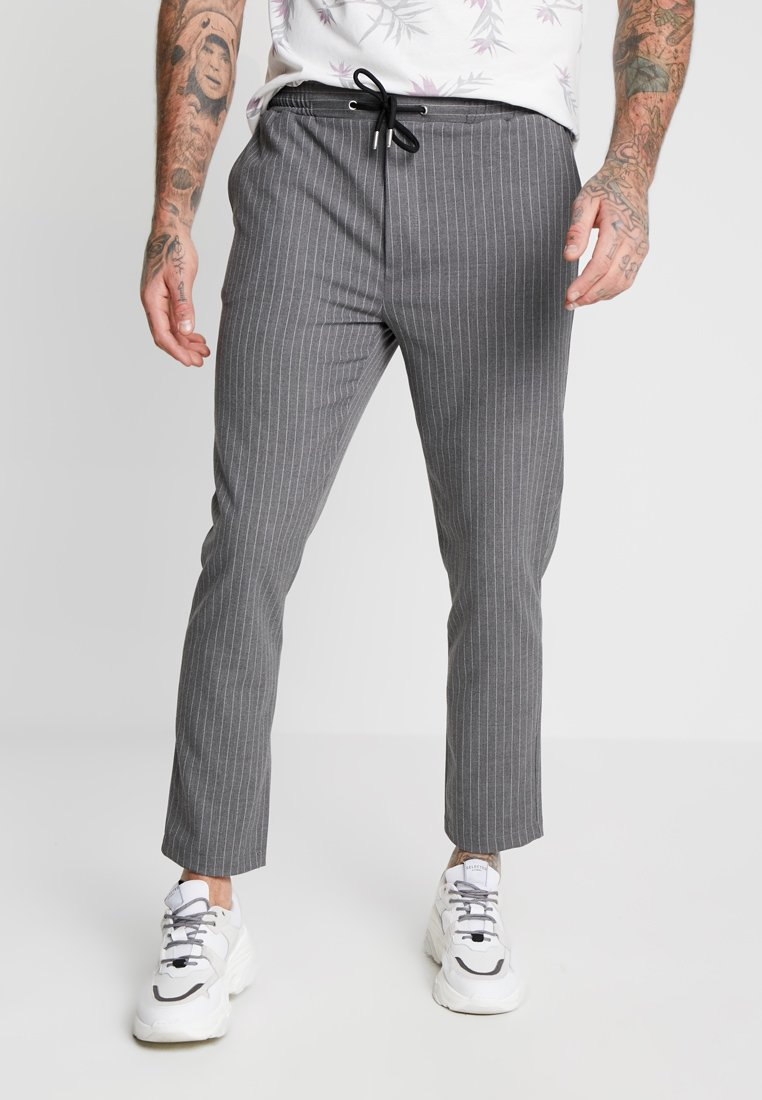 boohoo MAN - PINSTRIPE SMART JOGGER TROUSER - Trousers - grey