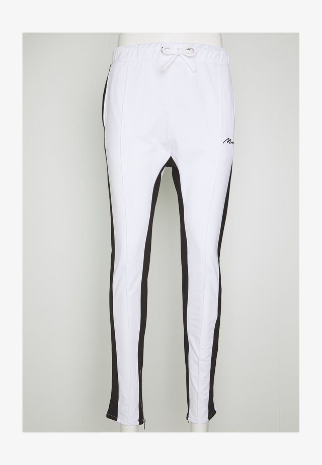 TRICOT SKINNY WITH SIDE PANEL - Träningsbyxor - white
