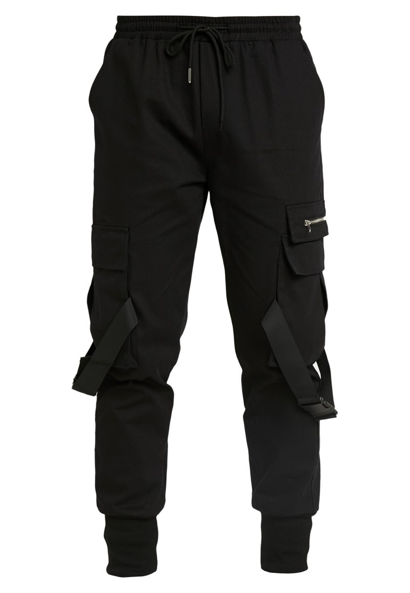 boohoo MAN - CARGO WITH PLASTIC BUCKLE DETAIL - Pantaloni cargo - black