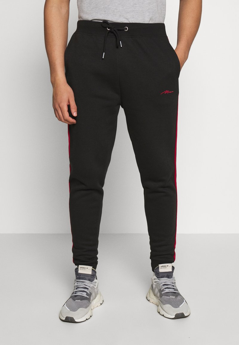boohoo MAN - MAN SIGNATURE SKINNY FIT - Teplákové kalhoty - black