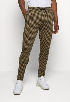 DOGTOOTH SKINNY FIT PINTUCK JOGGER TROUSER - Kalhoty - brown