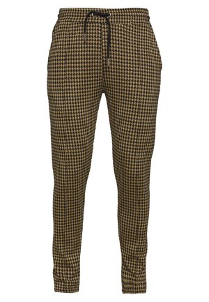 DOGTOOTH SKINNY FIT PINTUCK JOGGER TROUSER - Pantaloni - brown