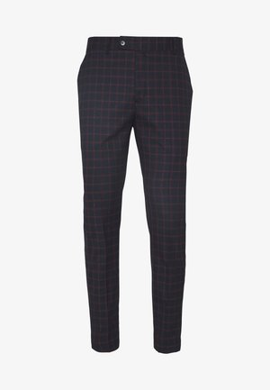 TARTAN CROPPED FORMAL TROUSER - Tygbyxor - dark blue