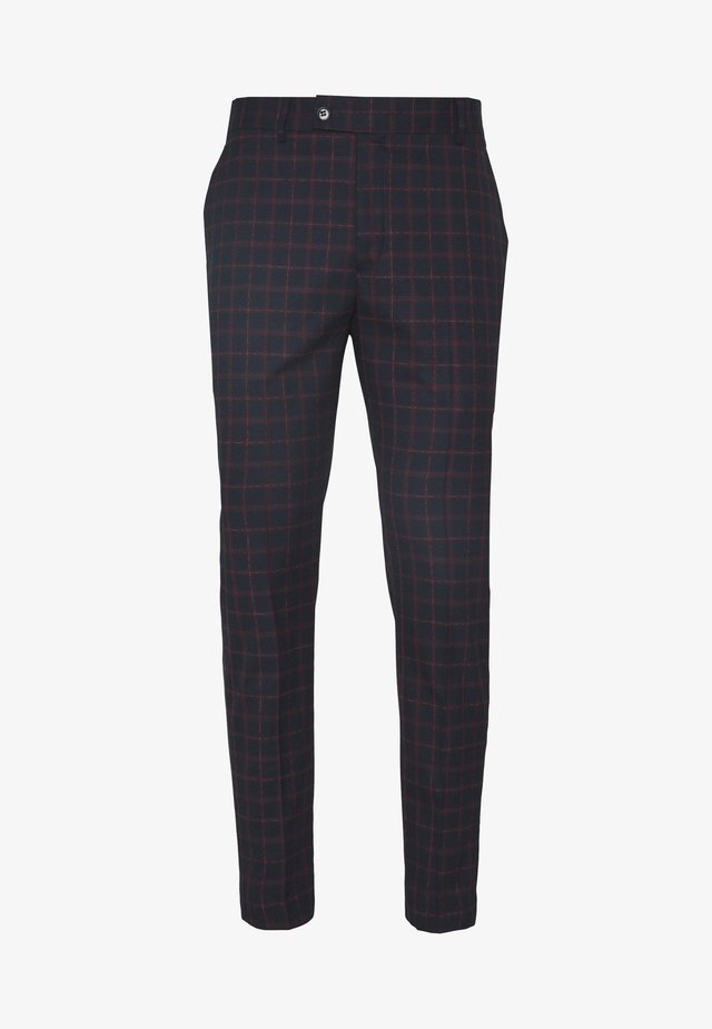 TARTAN CROPPED FORMAL TROUSER - Pantaloni - dark blue