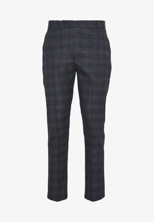 TONAL CHECK CROPPED SUIT TROUSER - Suit trousers - black