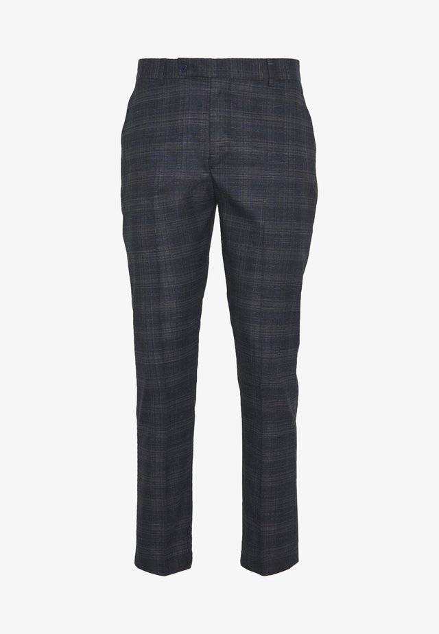 TONAL CHECK CROPPED SUIT TROUSER - Spodnie garniturowe - black