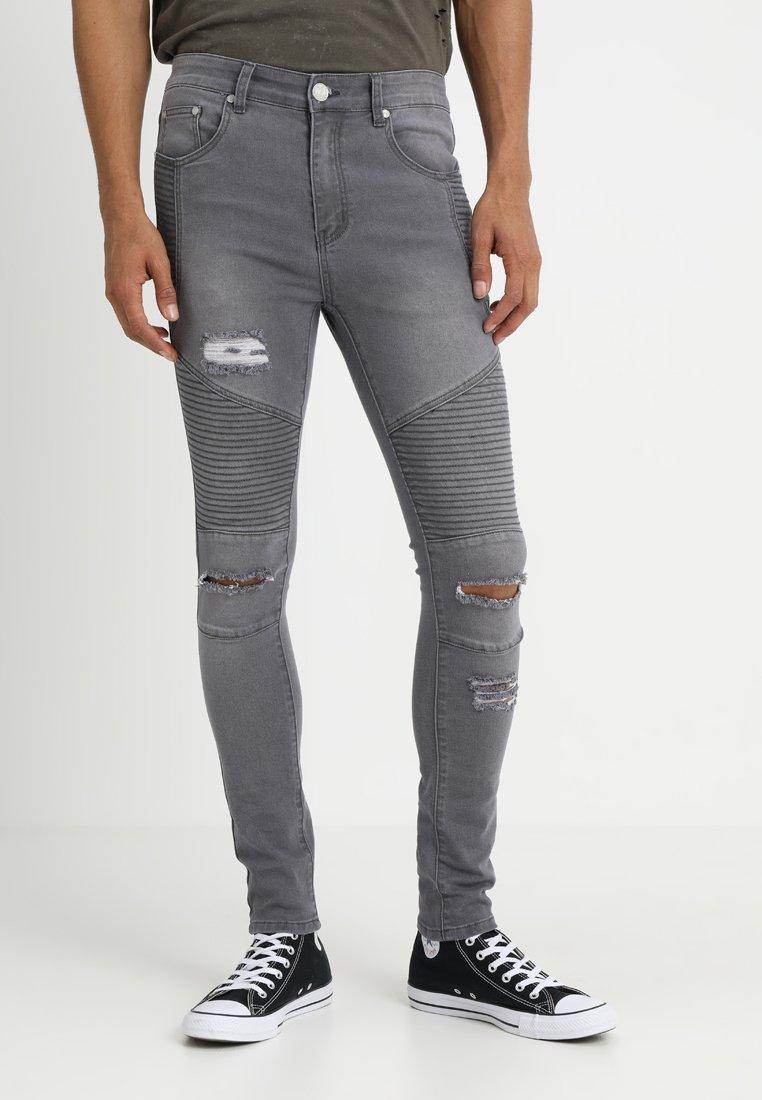boohoo MAN - RIPPED BIKER - Jeans Skinny Fit - grey