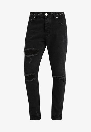 SKINNY FIT RIPPED WITH EMBELLISHED WAISTBAND - Vaqueros pitillo - black
