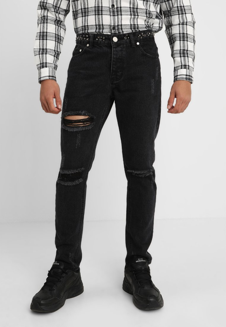 boohoo MAN - SKINNY FIT RIPPED WITH EMBELLISHED WAISTBAND - Jeans Skinny Fit - black