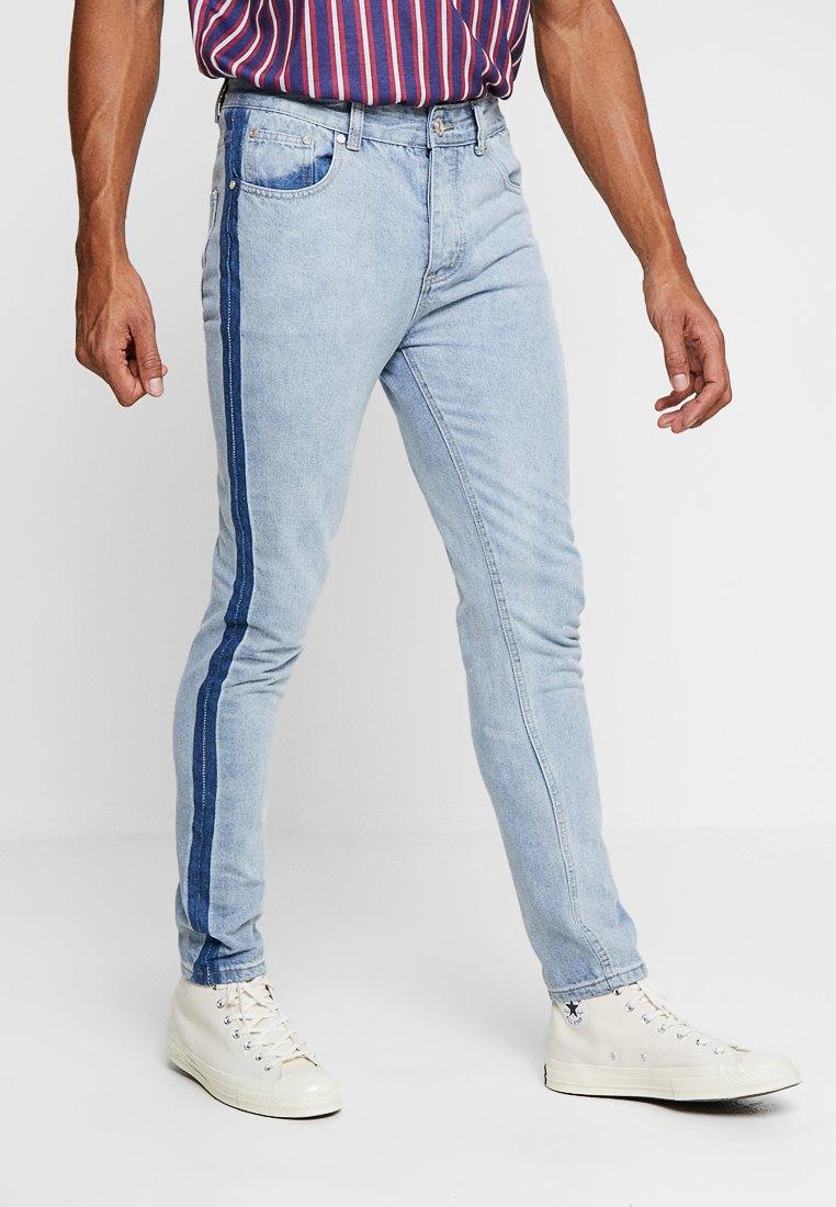 boohoo MAN - WASHED SIDE SEAM - Slim fit jeans - blue