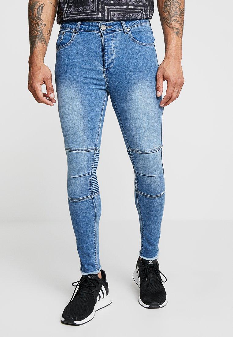 boohoo MAN - BIKER WITH RAW HEM - Jeans Skinny Fit - blue