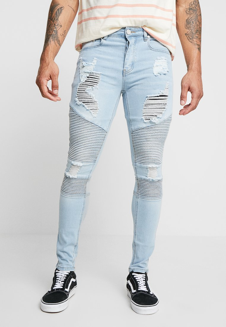 boohoo MAN - BIKER WITH EXTREME RIPS - Jeans Skinny Fit - blue