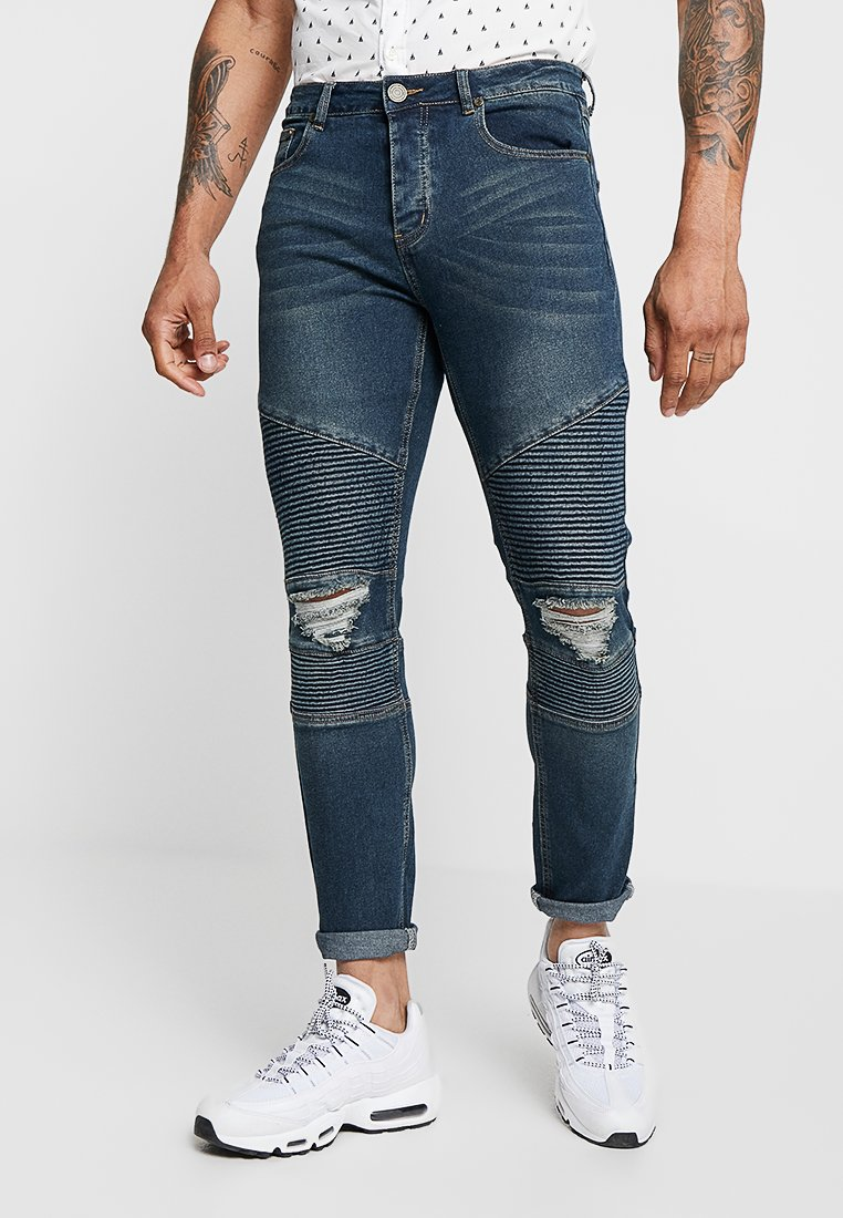 boohoo MAN - BIKER DETAIL - Jeans Skinny Fit - grey
