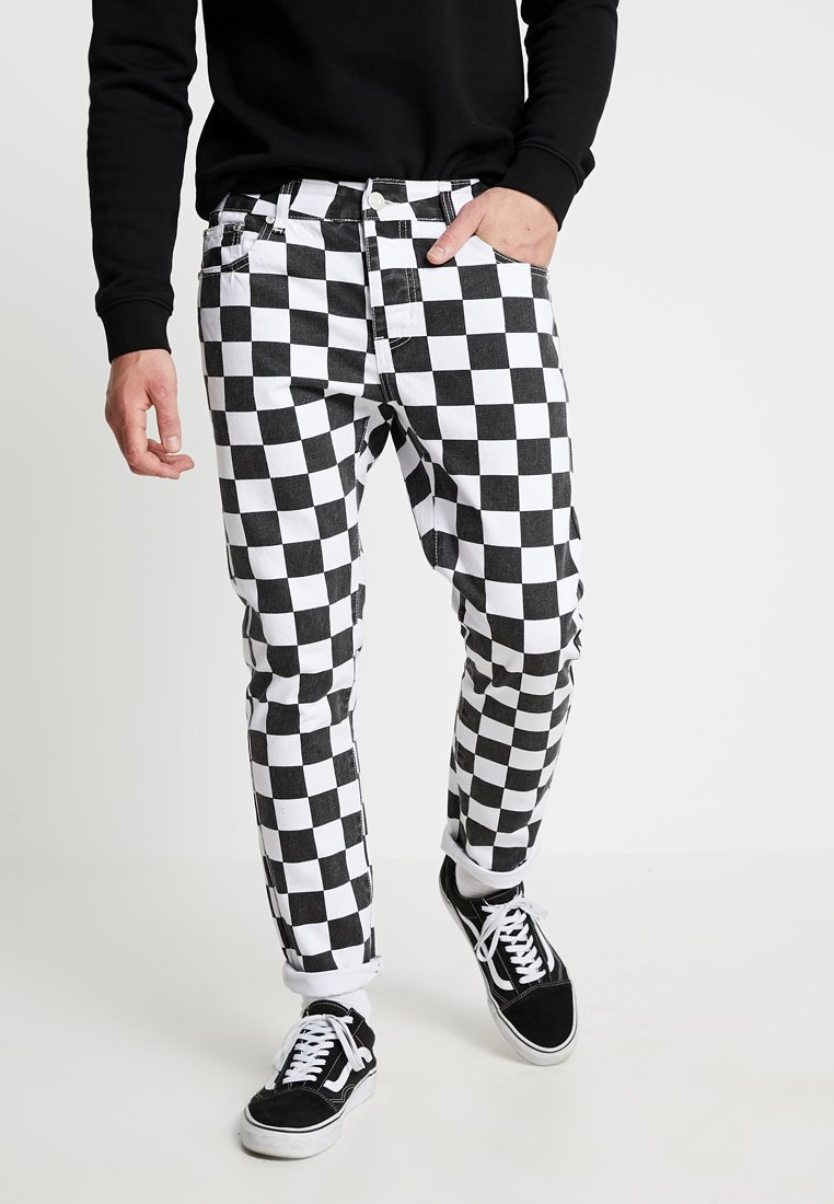 boohoo MAN - CHECKERBOARD - Slim fit jeans - black