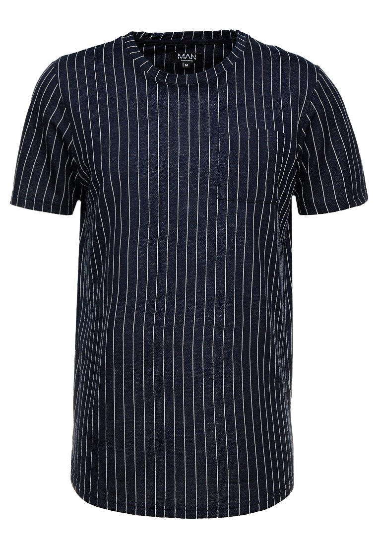 boohoo MAN - PINSTRIPE POCKET TEE - T-Shirt basic - navy