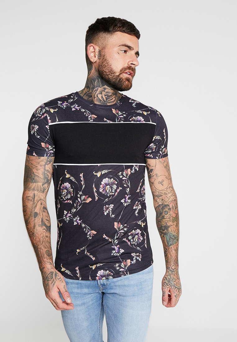 boohoo MAN - MUSCLE FIT WITH PANEL - T-shirts print - black